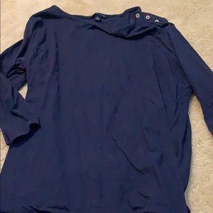 Tommy Hilfiger navy 3/4 sleeve boatneck top